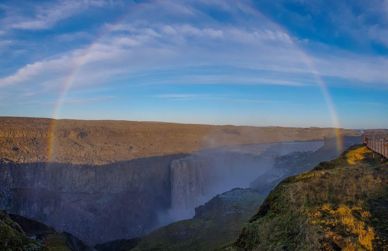 Detifoss Waterfall Islanda Rainbow