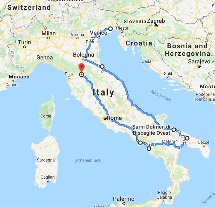 italia traseu florenta