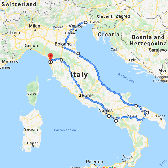 italia traseu pisa