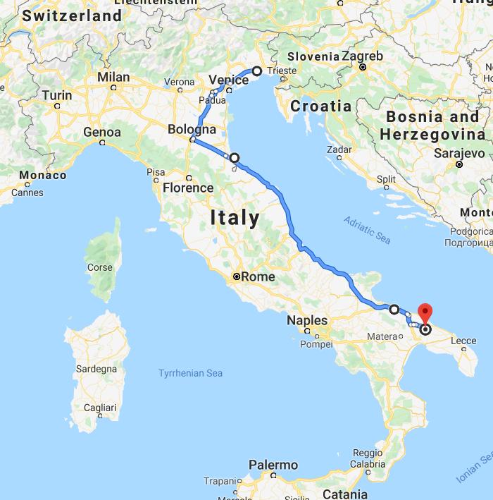 italia traseu puglia